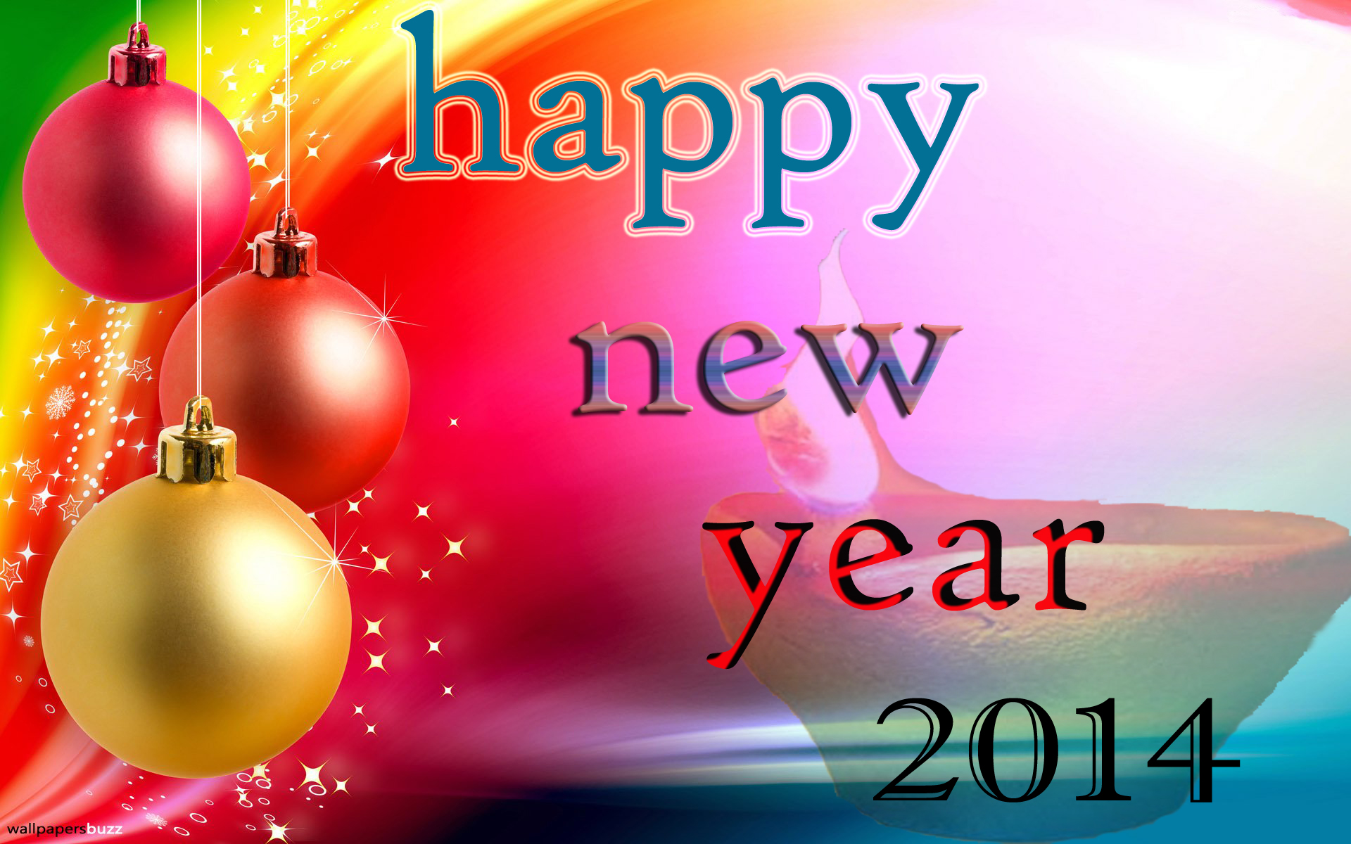 happy new year 2014 colorful background wallpaper