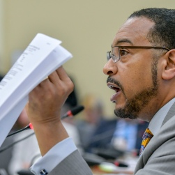 ANNAPOLIS, MD - March 30: Sen. C. Anthony Muse speaks during a meeting of the Legislative Black Caucus of Maryland to vote on a pro-bail bill Thursday morning in Annapolis. (Photo by Doug Kapustin/For The Washington Post)
